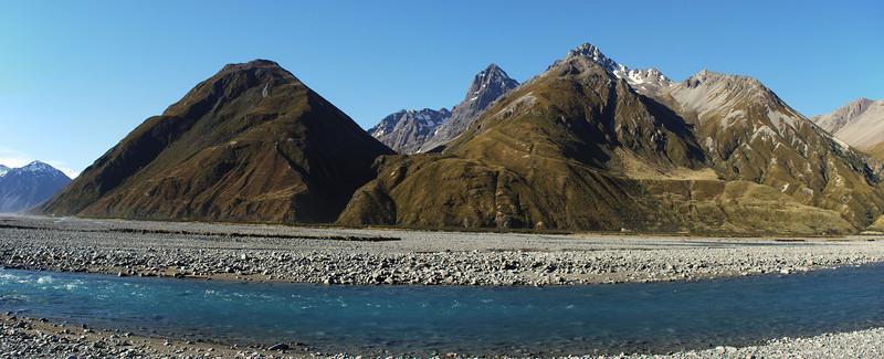 Havelock River and Cloudy Peak Range. Looking into Cloudy Stream to Cloudy Peak and Ferrar Peak