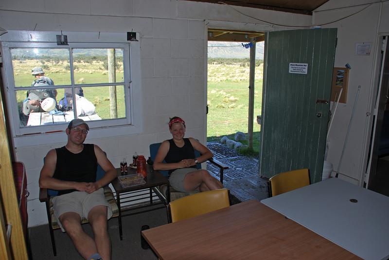 Taking a break at Black Mountain Hut