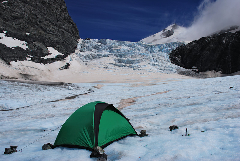 Campsite on the Godley Glacier, at the foot of the Neish Plateau ice-fall.