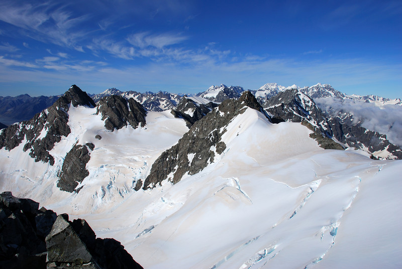 View from McKinnon Peak: Mt Wolseley (left, front) and Mt Cook (right, back)