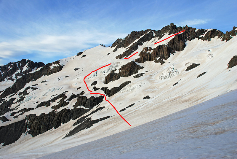 The north ridge of Mt Forbes from the southern edge of the Murphy Glacier, with our route to the pass leading into Separation Stream