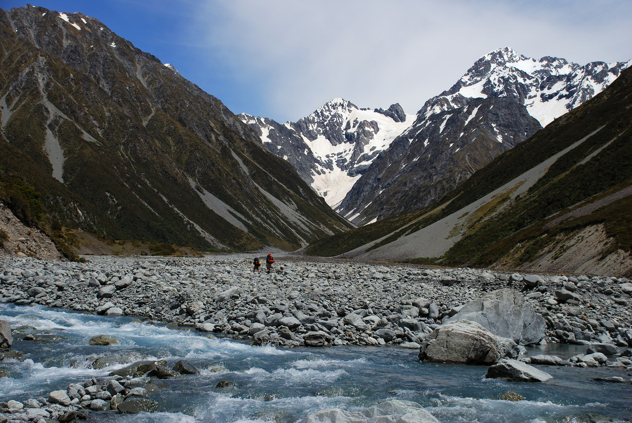 Walking up the Forbes River. Mt Coates, Separation Col and Mt D'Archiac in the back
