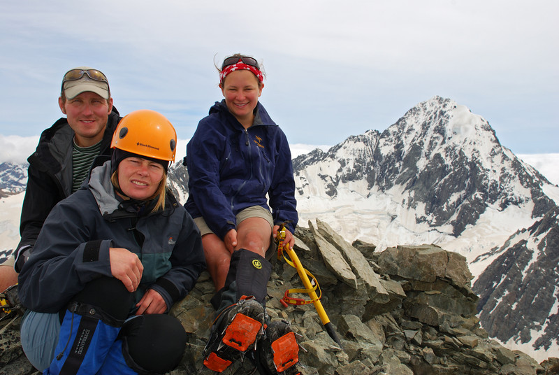 Ben, Lara, Nina on Mt Forbes. Mt D'Archiac behind