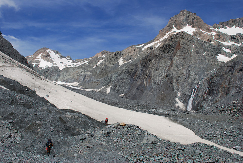 On the Godley moraine; Pyramus Peak and The Commander above