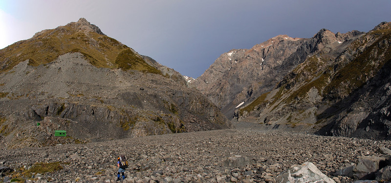 Approaching Godley Hut. Fitzgerald Stream and unnamed peak 2120 to the right.