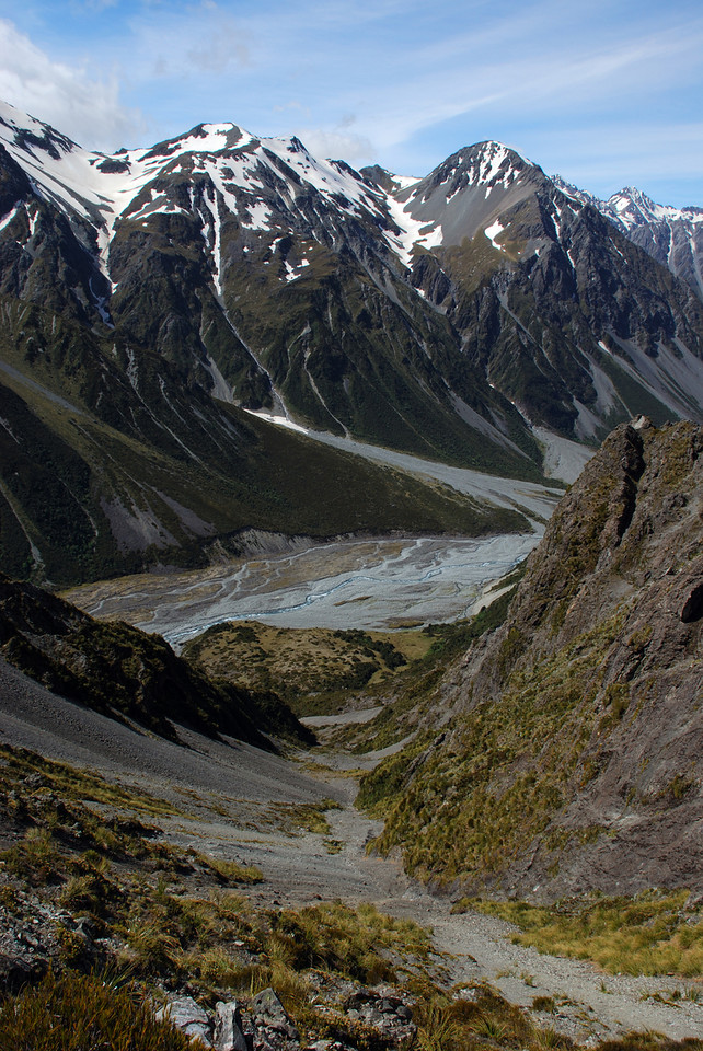 Looking back down the route to Easy Col from the Forbes. The scree top at centre-right image is Mt McMillan.