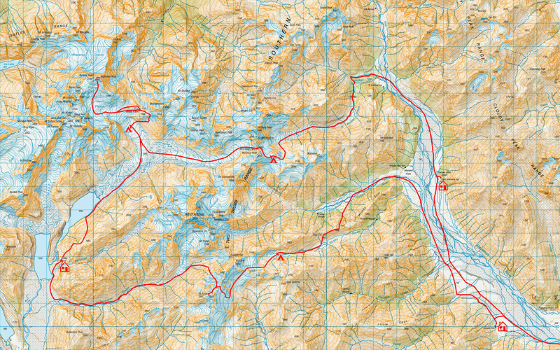 "Trip map - detail of alpine section. Left click on map then select ""Sizes -> Original"" in bottom right corner of screen to view full size"