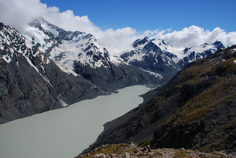 Mt Petermann, Mt Shyness and Malthus Peak at the head of the Godley Lake