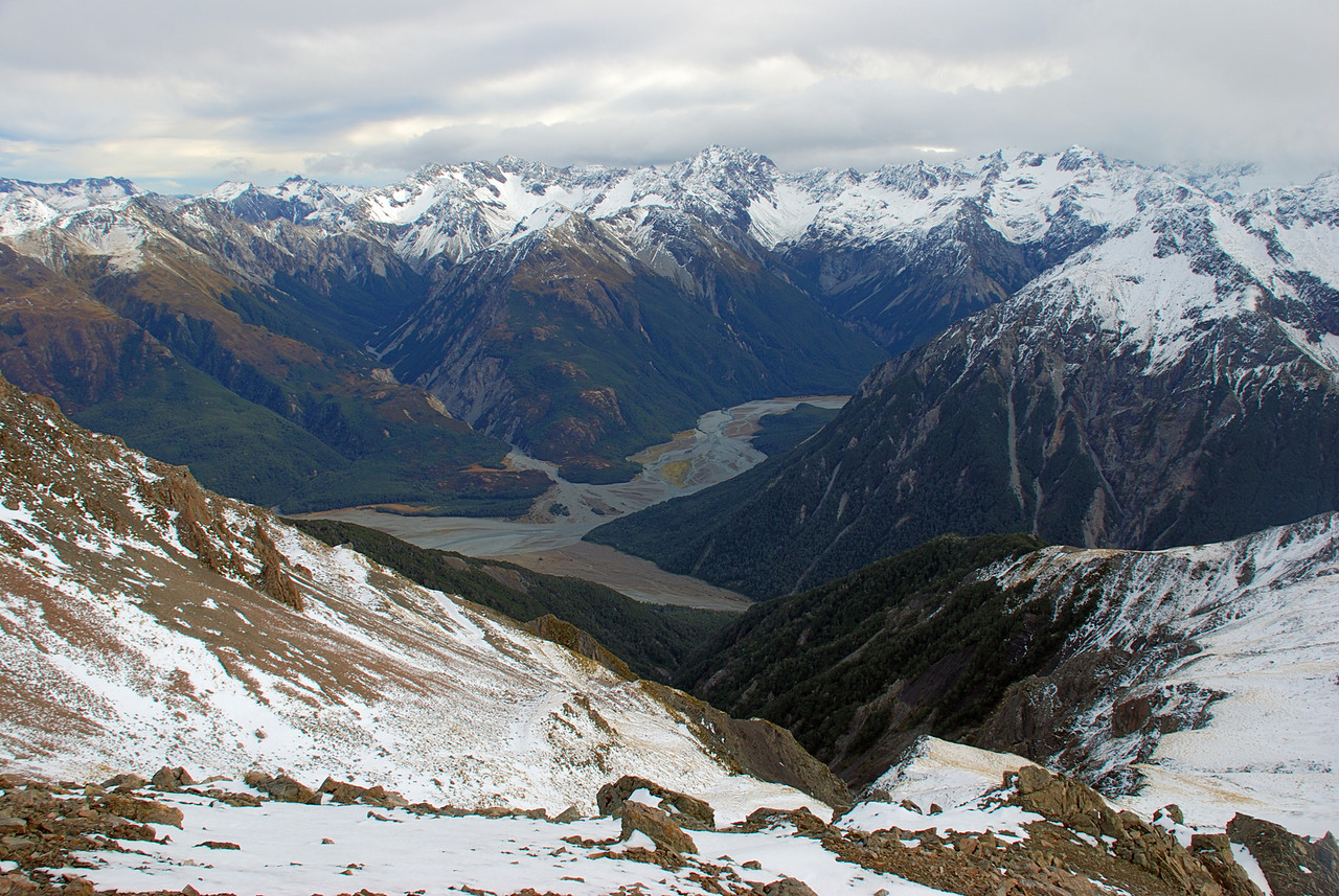 Crow, Anti-Crow and Waimakariri Rivers from Mt Bealey. Peaks on the skyline are Mt Gizeh, Mt Damfool, Mt Speight, Mt Harper