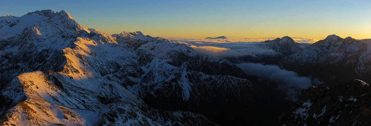 View from Avalanche Peak. From left to right are Mt Rolleston, Mt Philistine, Mt Alexander, Mt Stuart, Phipps Peak, Mt Temple