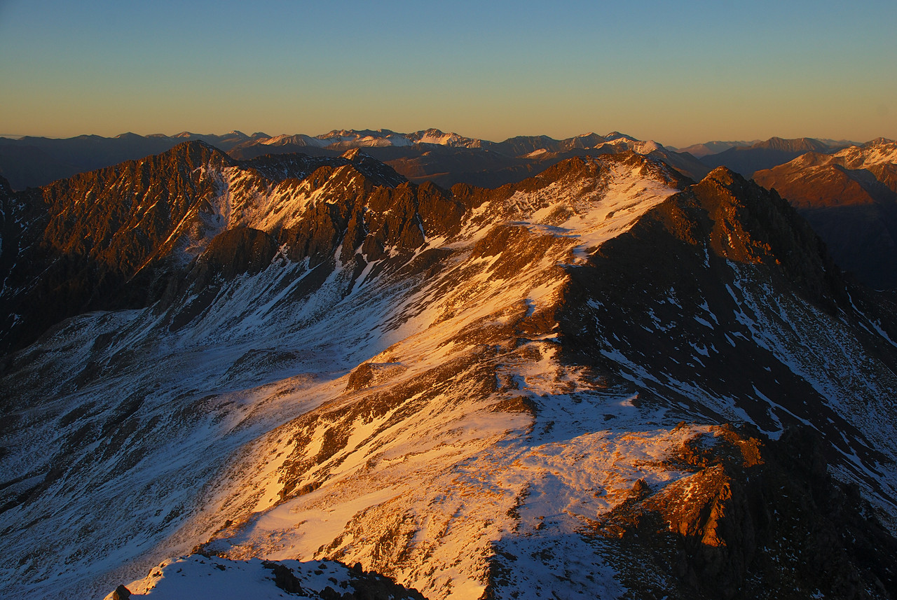 View south from Avalanche Peak, towards Lyell Peak (centre-right) and Mt Bealey (left)