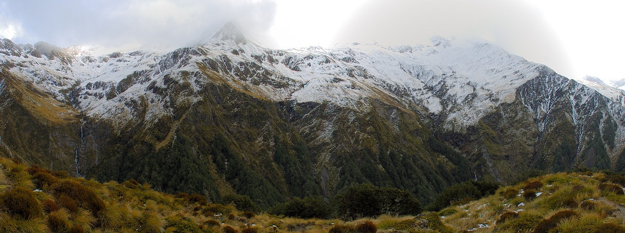 Lyell Peak and Avalanche Peak from bushline on the track to Mt Bealey