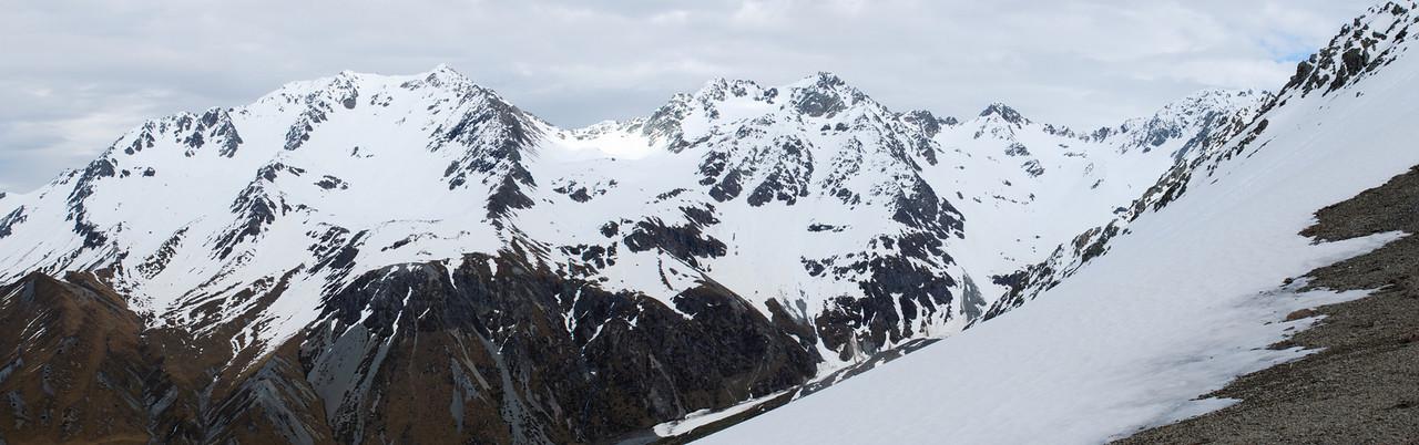 Looking west from Spean Stream Saddle: Pito Peak, South Peak, Hakatere Peak and Ashburton Peak