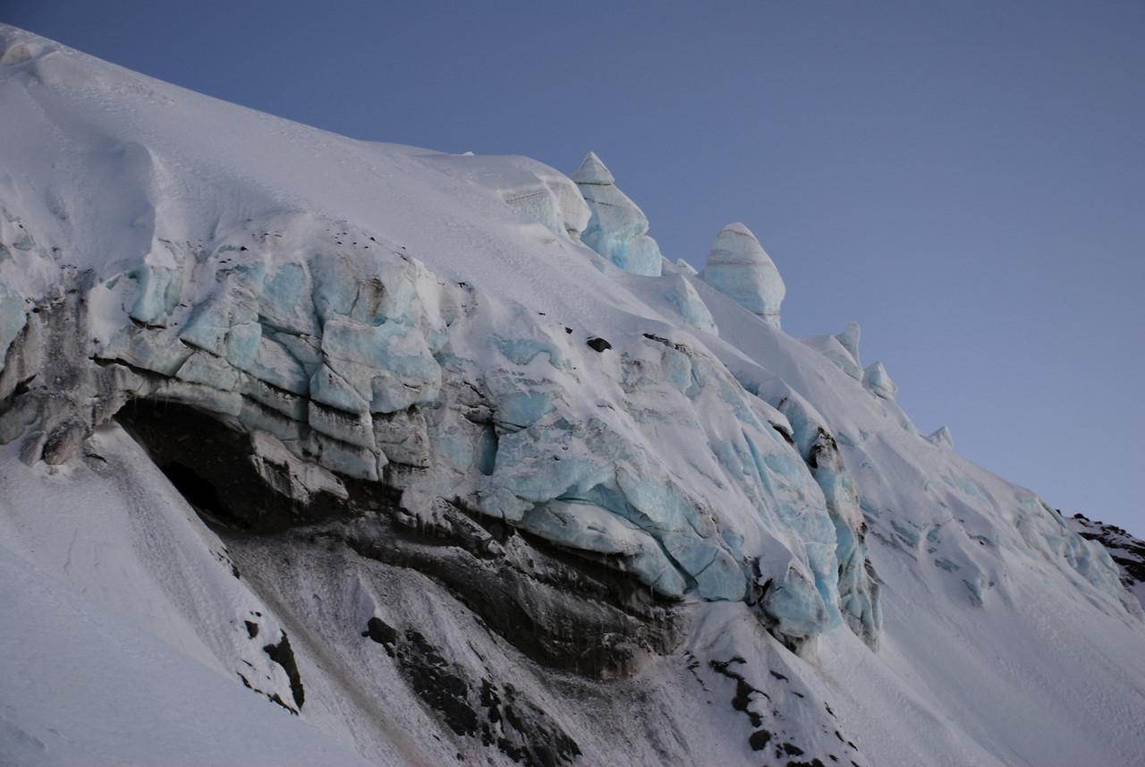 First serac on Mt Arrowsmith South Face