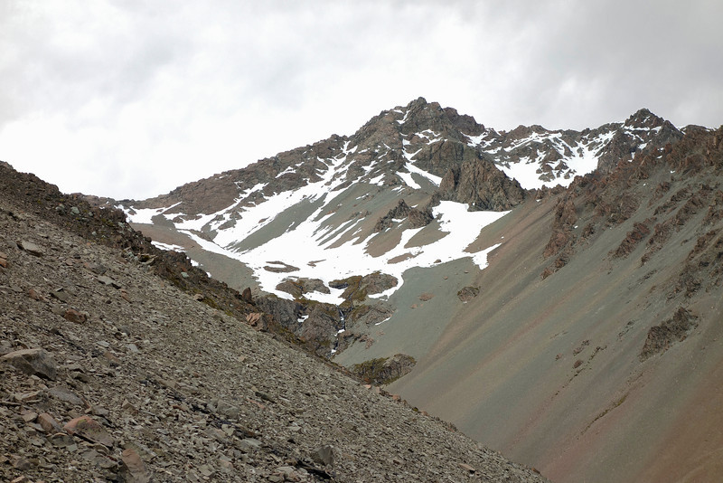 Pito Peak from the west. I climbed the prominent couloir just below the steep step on the ridge, left of the summit