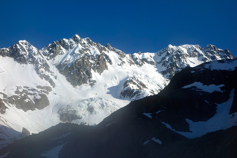 Mt Arrowsmith (right) from camp at the toe of the Ashburton Glacier