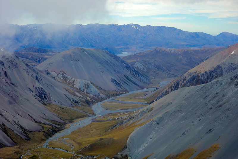 South Branch Ashburton River (Hakatere) and Wild Mans Brother Range from Pito Peak