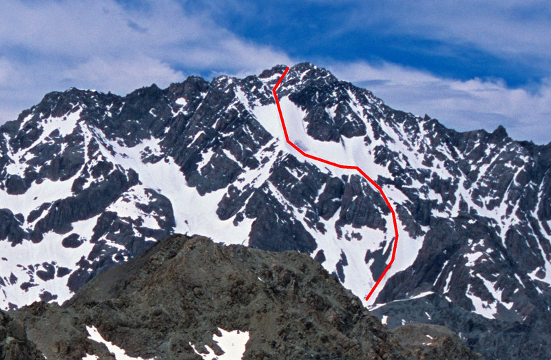 Mt Arrowsmith route topo, from the Lawrence. On an old photograph from near Butler Saddle