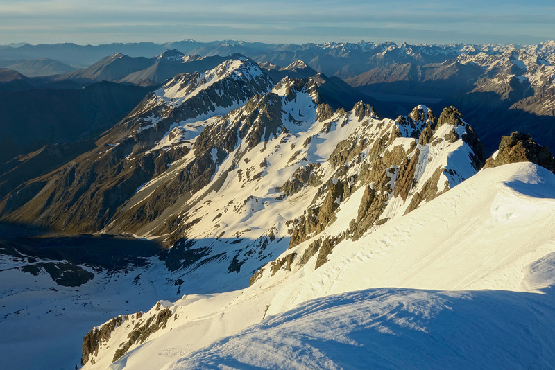 On the south west ridge of Mt Arrowsmith, looking down the range to Pito Peak