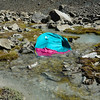 My tent as I found it - right in the middle of the creek!