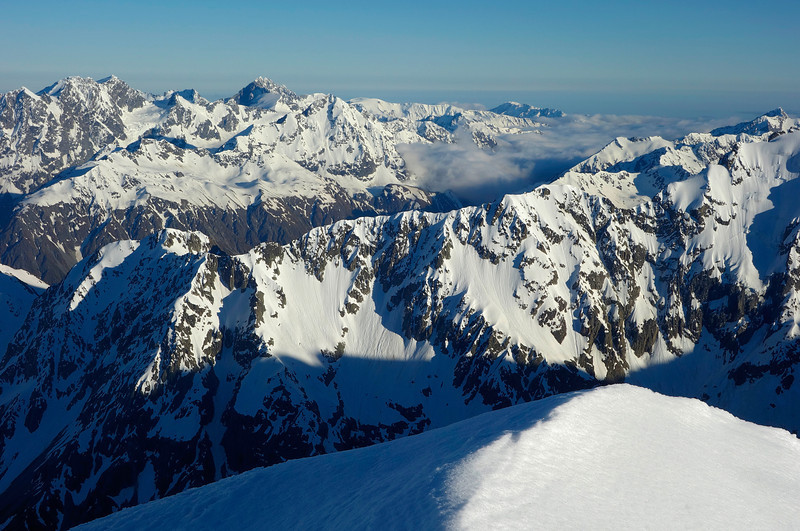 View north from Mt Arrowsmith. Mt Whitcombe and Mt Evans are on the left, Mt Neave on the far right