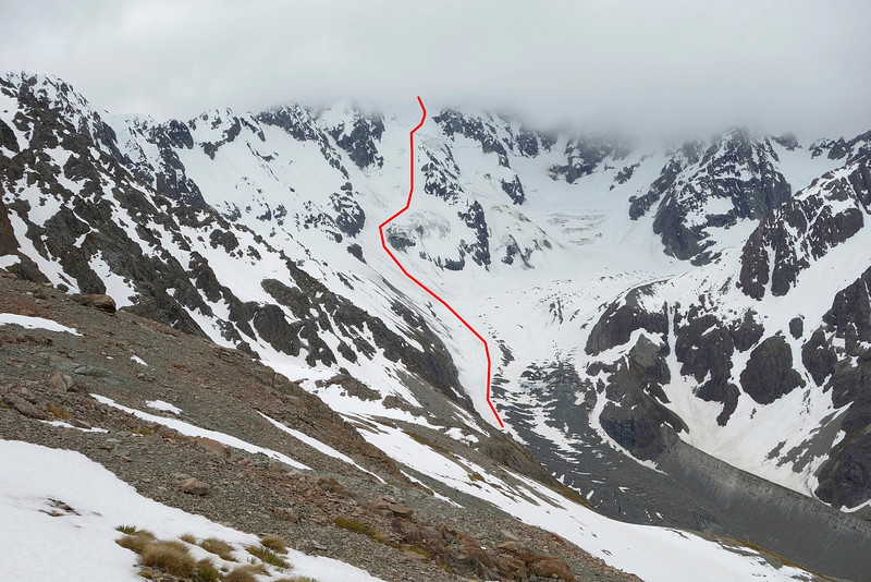 Mt Arrowsmith route topo - from the South Branch Ashburton River / Hakatere