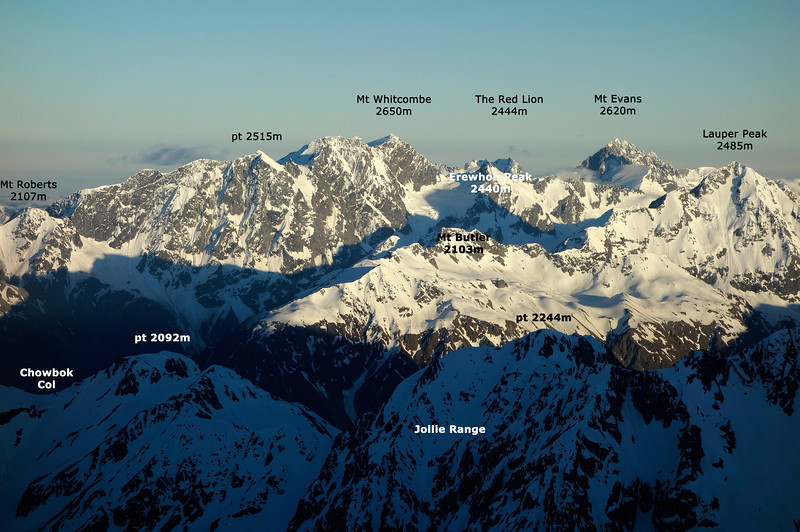 Mt Whitcombe and Mt Evans from the south west ridge of Mt Arrowsmith