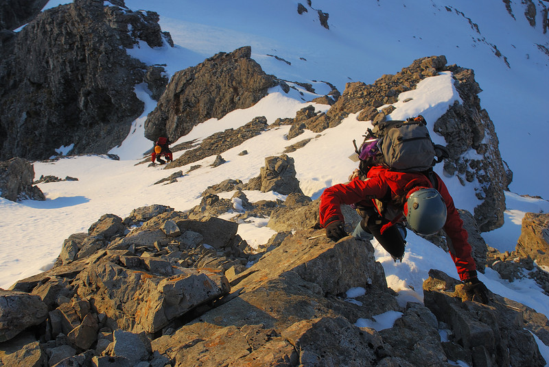 Climbing the lower buttress below the gap on Rome Ridge