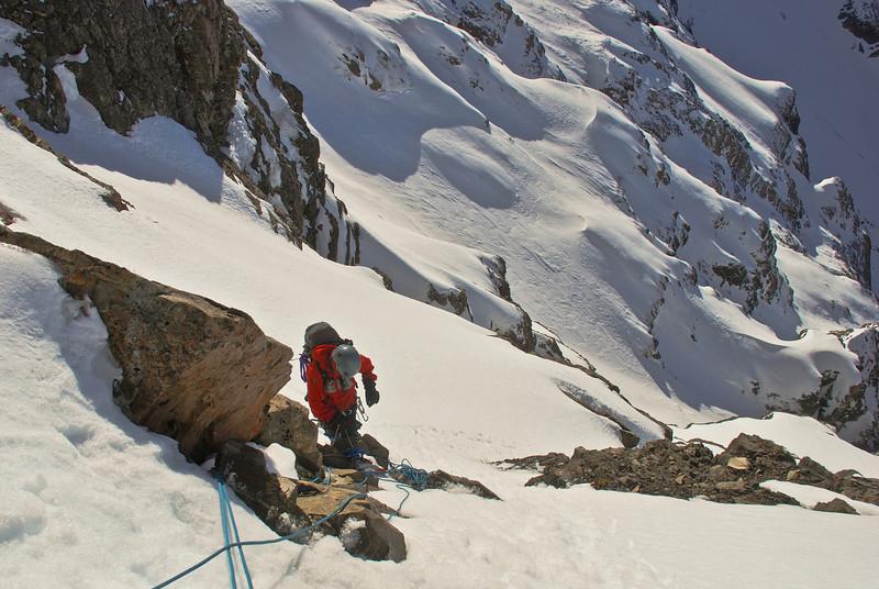 Climbing above the gap on Rome Ridge