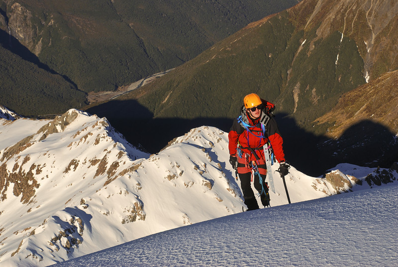 Alexis summiting on the Low Peak of Mt  Rolleston