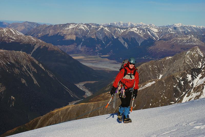 Hannah summiting on the Low Peak of Mt  Rolleston