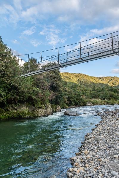 Waiotauru River swingbridge. Otaki Forks, Tararua Forest Park.