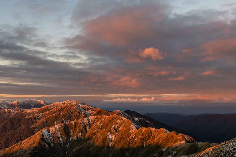 Sunset on the north ridge of Bridge Peak, Tararua Range. From left to right are Mt Holdsworth, Maungahuka and Vosseler.
