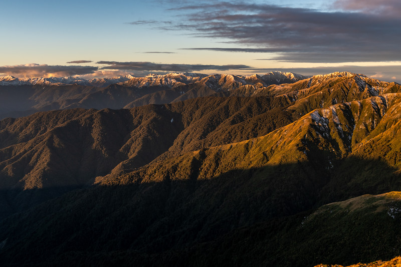 Sunset on the Tararua Range from the north ridge of Bridge Peak