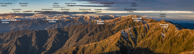 Tararua Range sunset from Bridge Peak, looking north-east
