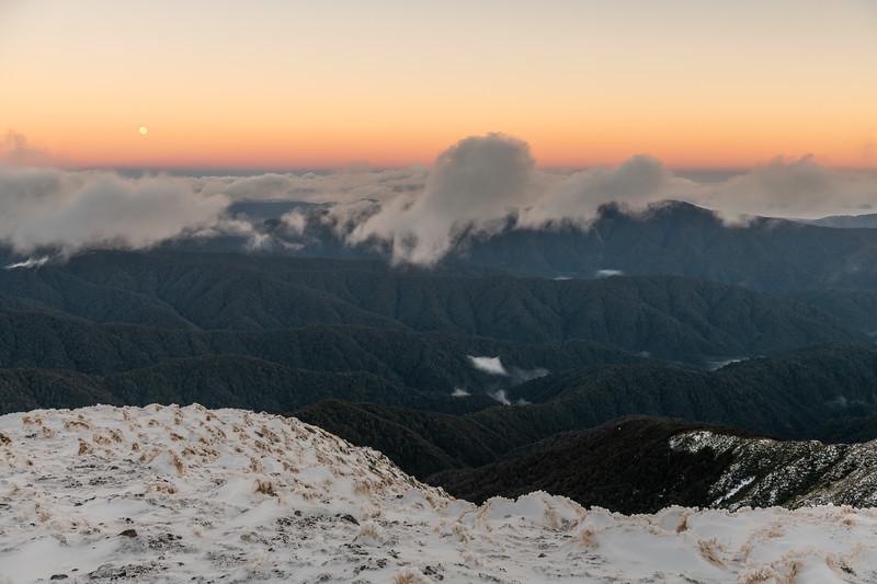 Moonset on Hut Mound, Tararua Range.