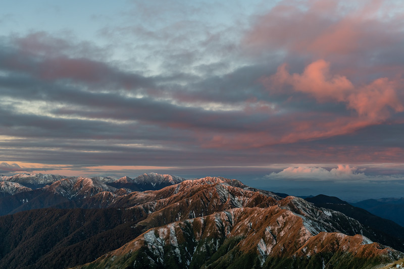 Sunset on the north ridge of Bridge Peak, Tararua Range. From left to right are Aokaparangi, Mt Holdsworth, Maungahuka and Vosseler.