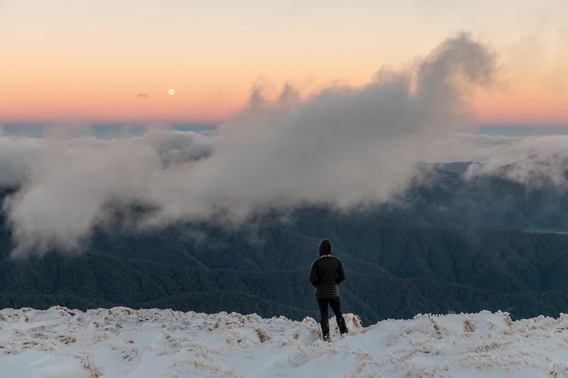 Taking in the moonset on Hut Mound, Tararua Range.