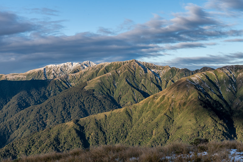 Tararua Peaks: Maungahuka, Tuiti, McIntosh and Yeates from Table Top.