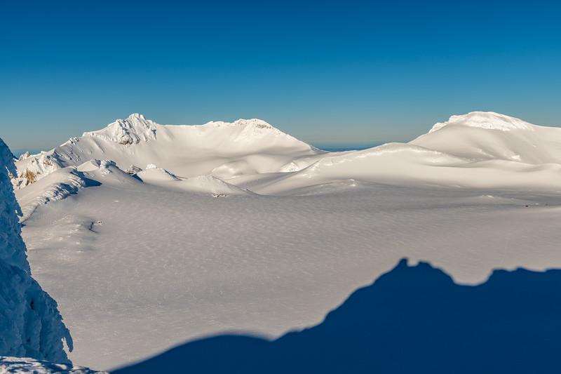 Tahurangi, Paretetaitonga and Mount Ruapehu's Summit Plateau from the summit of Tukino Peak.