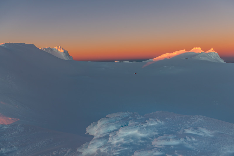 Mount Ruapehu's Summit Plateau. Tukino Peak on left, Cathedral Rocks on right.