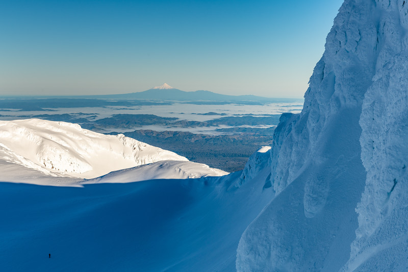 View of Taranaki from the Central Gully on the south face of Tukino Peak.