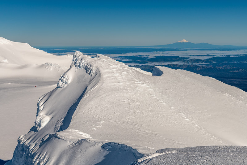 View from Te Heuheu: Tukino Peak (front) and Taranaki (back).