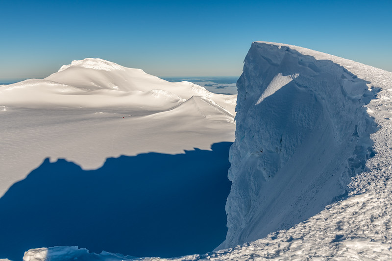 The exit of the Central Gully on the south face of Tukino Peak. Paretetaitonga in the background.