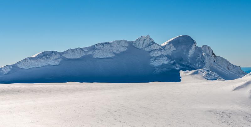Tukino Peak and Te Heuheu from Mount Ruapehu's Summit Plateau.