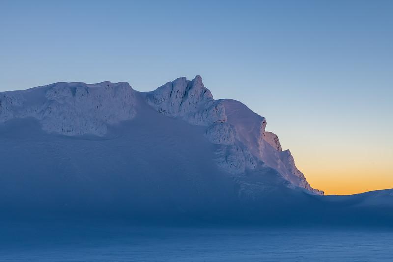 Tukino Peak and Te Heuheu above Mount Ruapehu's Summit Plateau.
