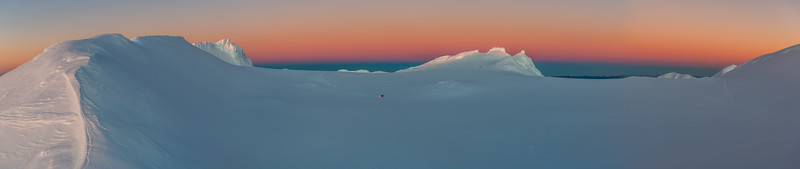 Mount Ruapehu's Summit Plateau at dusk. From left to right are Glacier Knob, Tukino Peak and Cathedral Rocks.
