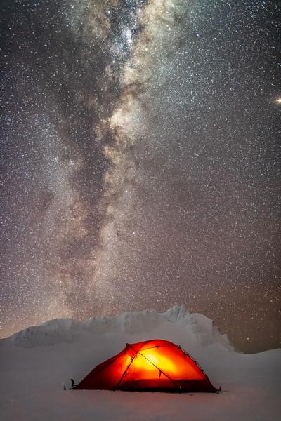 Camspite on Mount Ruapehu's Summit Plateau, right under Tukino Peak.