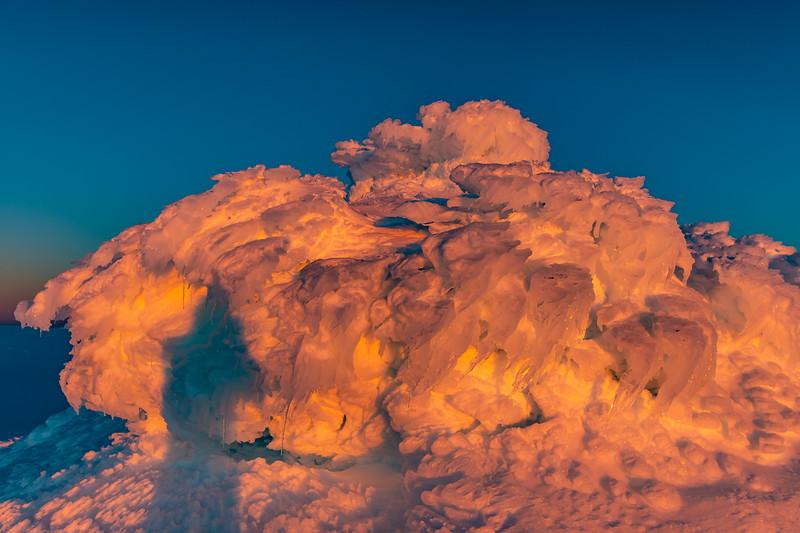 Ice sastrugi on Mount Ruapehu.