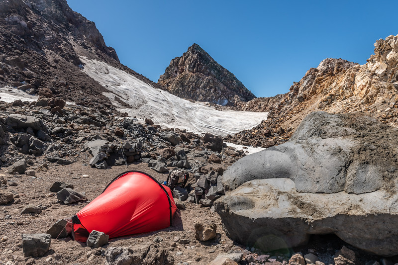 Campsite in Taranaki's summit crater. Sharks Tooth is at centre image
